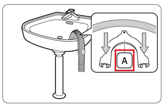 Samsung Waschmaschine anschließen, Schlauchführung mit Kabelbinder einsetzen
