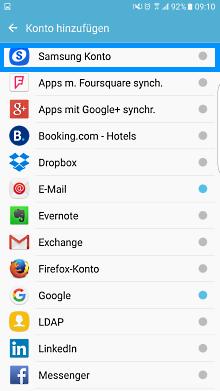 Samsung Smartphone, Konto einrichten oder anmelden, Schritt 4, Samsung Konto auswählen