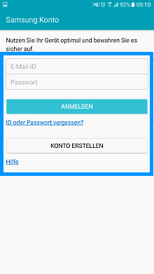 Samsung Smartphone, Kontoanmeldung, Schritt 5, E-Mail und Passwort eingeben