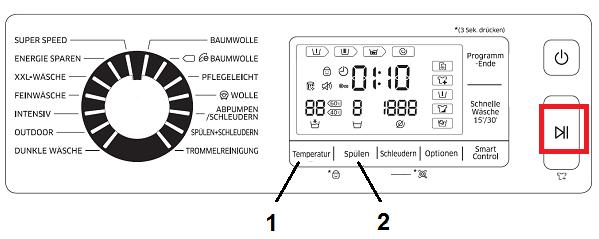 Kindersicherung auf Samsung Waschmaschine mit Start/Pause-Taste aktivieren