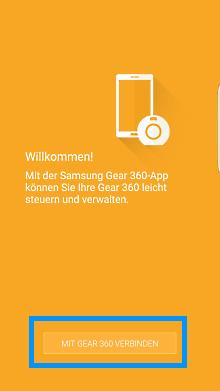 Samsung Gear 360, Wilkommen-Maske
