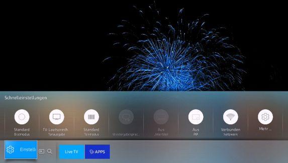 Samsung Smart TV,  Schnelleinstellungen auf Bildschirm