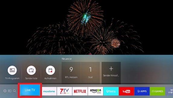 Samsung Smart TV, (K-Serie), aufgezeichnete Sendungen wiedergeben, Live TV Taste wählen