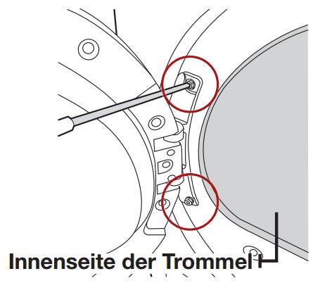 Anschlagseite der Tür bei Samsung Kondensationstrockner ändern, Innenseite der Trommel