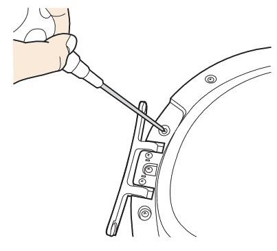 Anschlagseite der Tür bei Samsung Kondensationstrockner ändern, Schrauben entfernen