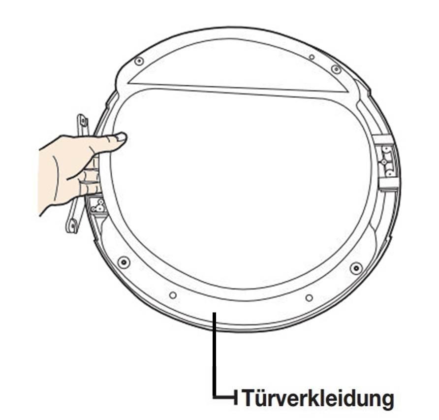 Anschlagseite der Tür bei Samsung Kondensationstrockner ändern, Türverkleidung