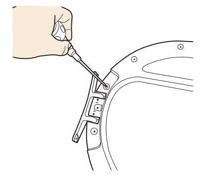 Anschlagseite der Tür bei Samsung Kondensationstrockner ändern, Schrauben festziehen