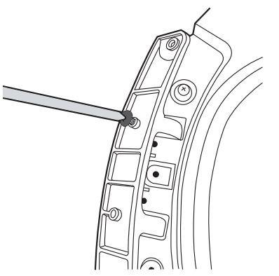 Anschlagseite der Tür bei Samsung Kondensationstrockner ändern, Position der Schraube auf Rückseite des Türscharniers verändern