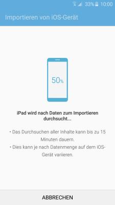 Datenübertragung von iOS zu Samsung Galaxy Smartphone mit Smart Switch, Durchsuchen nach Daten zum Importieren vom iOS Gerät