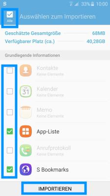 Datenübertragung von iOS zu Samsung Galaxy Smartphone mit Smart Switch, Auswahl der Inhalte zum importieren
