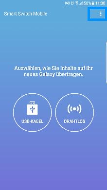 Samsung Smartphone, Daten mit Smart-Switch auf die SD-Karte speichern, USB-Kabel oder drahtlos Verbindung auswählen