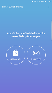 Datenübertragung von iOS zu Samsung Galaxy Smartphone mit Smart Switch, USB-Kabel oder Drahtlos Verbindung auswählen