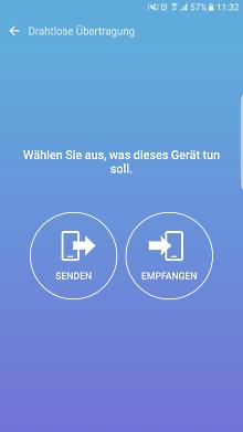 Datenübertragung von iOS zu Samsung Galaxy Smartphone mit Smart Switch, Senden oder Empfangen auswählen