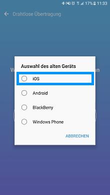 Datenübertragung von iOS zu Samsung Galaxy Smartphone mit Smart Switch, altes Gerät auswählen