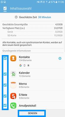 Samsung Smartphone, Daten mit Smart-Switch auf die SD-Karte speichern, Auswahl der Inhalte die auf SD-Karte übertragen werden