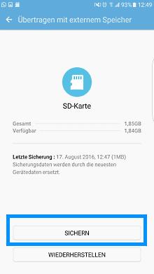 Samsung Smartphone, Daten mit Smart-Switch auf die SD-Karte speichern, Übertragung mit externen Speicher sichern