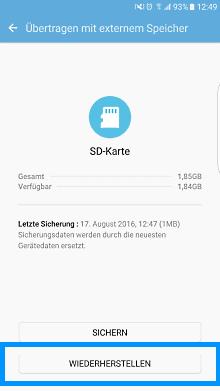 Samsung Smartphone, Datenwiederherstellung mit Smart Switch von der SD-Karte