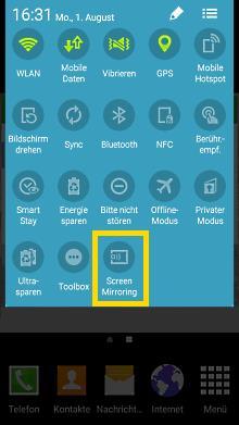 Verwendung Samsung TV Screen Mirroring, Schritt 5, Smartphone,  ältere Versionen