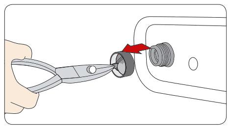 Samsung Waschtrockner, Sieb des Zulaufschlauches reinigen, Sieb mit Zange herausziehen