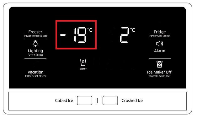 Temperatur von Samsung Side-by-Side Kühlschrank einstellen, aktuelle Temperatur von Gefrierabteil