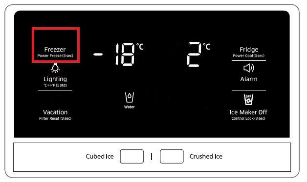 Temperatur von Samsung Side-by-Side Kühlschrank einstellen, Temperatur von Gefrierabteil