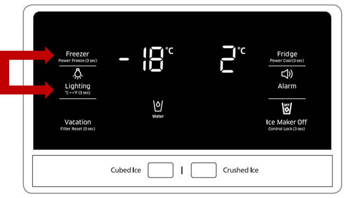 Demo-Modus bei Samsung Side-by-Side Kühlschrank, Display