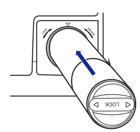 Samsung Side-by-Side Kühlschranks RH57H90707F, Wasserfilterpatrone austauschen, neue Wasserfilterpatrone einsetzen