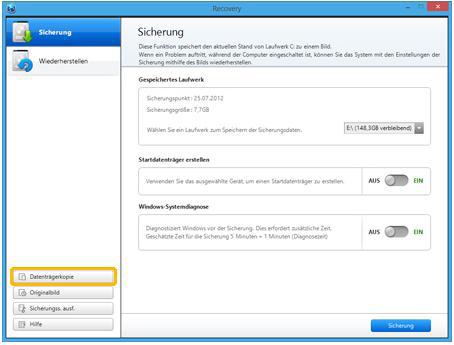 Backup für Samsung Notebook mit Windows 8 erstellen, Datenträger kopieren