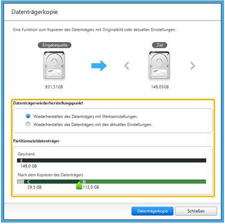 Backup für Samsung Notebook mit Windows 8 erstellen, Eingabequelle und Ziel