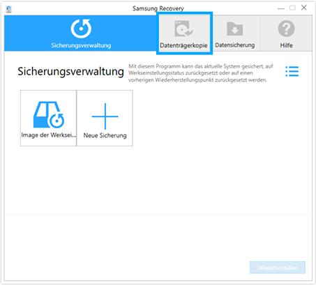 Backup für Samsung Notebook mit Windows 10 erstellen, Sicherungsverwaltung