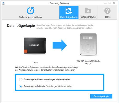Backup für Samsung Notebook mit Windows 10 erstellen, Datenträgerkopie