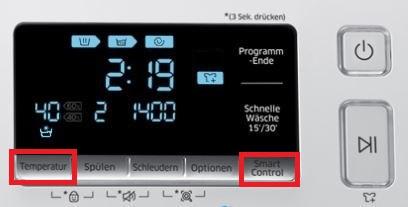 Samsung Addwash Waschmaschine in WLAN-Netzwerk einbinden, Temperatur und Smart Controll Taste