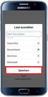 Samsung Addwash Waschmaschine in WLAN-Netzwerk einbinden, Land auswählen