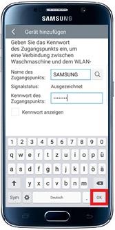 Samsung Addwash Waschmaschine in WLAN-Netzwerk einbinden, WLAN-Netzwerk eingeben