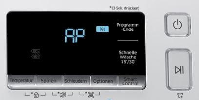 Samsung Addwash Waschmaschine in WLAN-Netzwerk einbinden, AP Zeichen