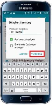 Samsung Addwash Waschmaschine in WLAN-Netzwerk einbinden, Verbinden