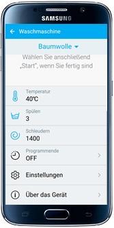 Waschprogramm über Samsung Smart Home App auswählen, Einstellungen