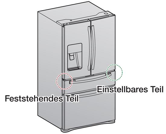 Türhöhe von einem Samsung French Door Kühlschrank einstellen, feststehendes Teil und einstellbares Teil