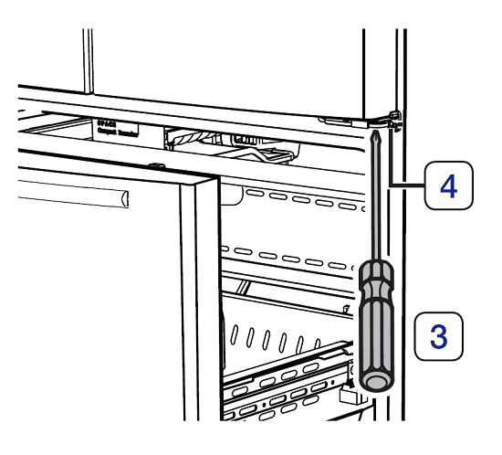 Türhöhe von einem Samsung French Door Kühlschrank einstellen, Kreuzschlitzschrabendreher und Bolzen des rechten Scharniers