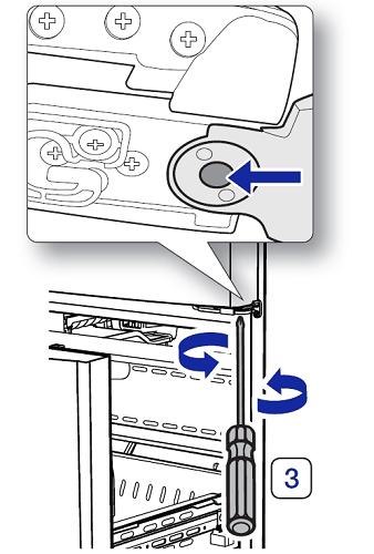 Türhöhe von einem Samsung French Door Kühlschrank einstellen, Schraubendreher
