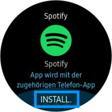 Spotify auf einer Samsung Gear S3 anwenden, Spotify installieren