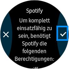 Spotify auf einer Samsung Gear S3 anwenden, Berechtigungen