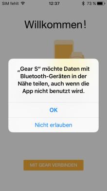 Samsung Gear mit iPhone verbinden, Daten mit Blueetooth-Geräten teilen