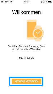 Samsung Gear mit iPhone verbinden, Willkommensmaske