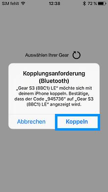 Samsung Gear mit iPhone verbinden, Kopplungsanforderung