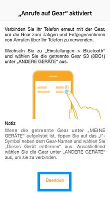 Samsung Gear mit iPhone verbunden