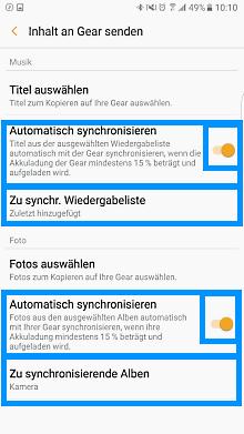Medien zwischen Smartphone und Samsung Gear S3 übetragen, Synchronisierung