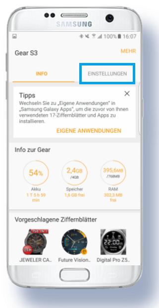 weitere Apps für Samsung Gear S3 herunterladen, Samsung Galaxy Apps