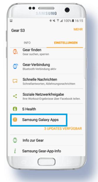 weitere Apps für Samsung Gear S3 herunterladen, Ziffernblätter