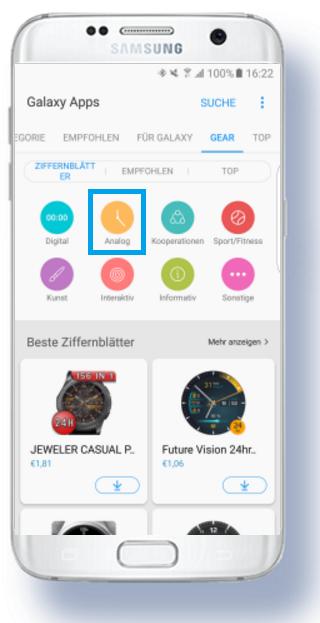 weitere Apps für Samsung Gear S3 herunterladen, analog